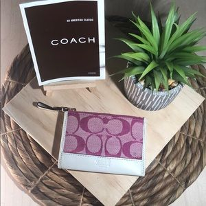 Coach Pink Signature & White Leather ID Holder